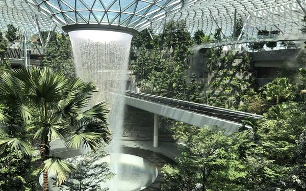 The world's tallest indoor waterfall has been unveiled at the world's best airport